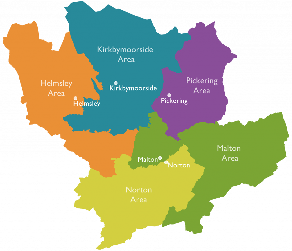 Image of Ryedale divided into the five Community Team areas